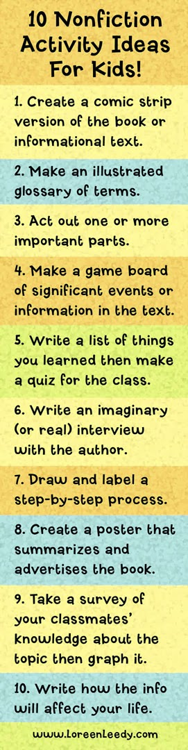 I.N.K.: 10 Nonfiction Activity Ideas for Kids would be great to have advanced students do some of these activities!