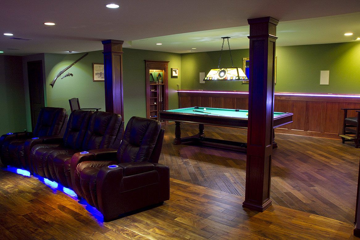Lighting Basement Washroom Stairs: Mahogany Wood Wainscoting In A Man Cave That Has A Theater