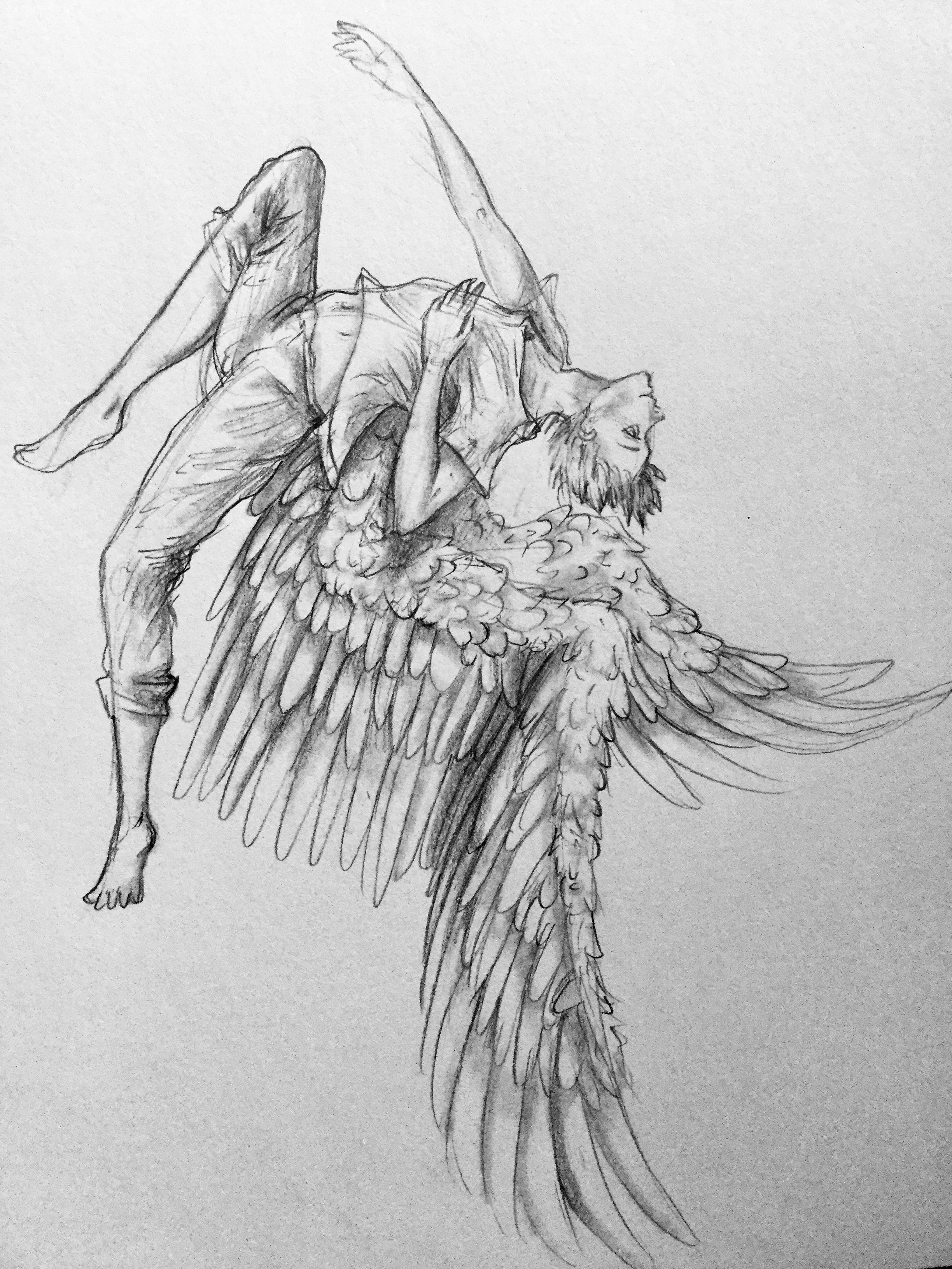 Flying Angel Drawing : flying, angel, drawing, Drawings