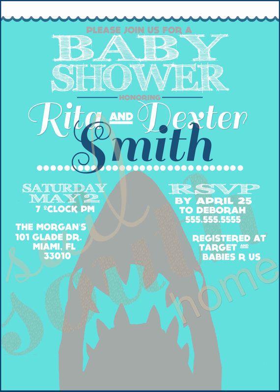 custom shark shower invitation shark party by sailsouthhome, Party invitations