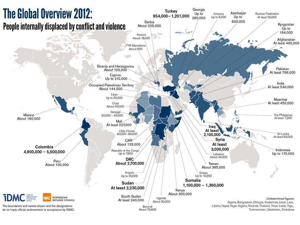 World map showing the countries with the highest numbers of people world map of people forced to flee within their home countries countries with the most internally displaced people colombia syria dr congo somalia gumiabroncs Image collections