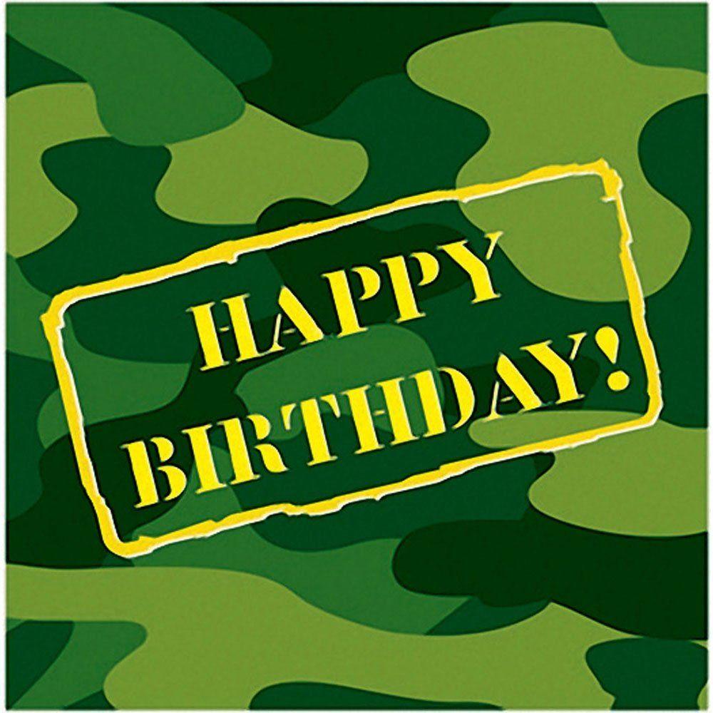 Amazon Com Camouflage Happy Birthday Lunch Napkins 16 Per Pack