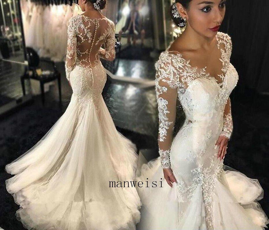 afc030c7b Marfim sexy sereia Vestido De Noiva Querida vestidos de noiva de renda  Apliques Custom | Roupas, calçados e acessórios, Casamentos e ocasiões  formais, ...
