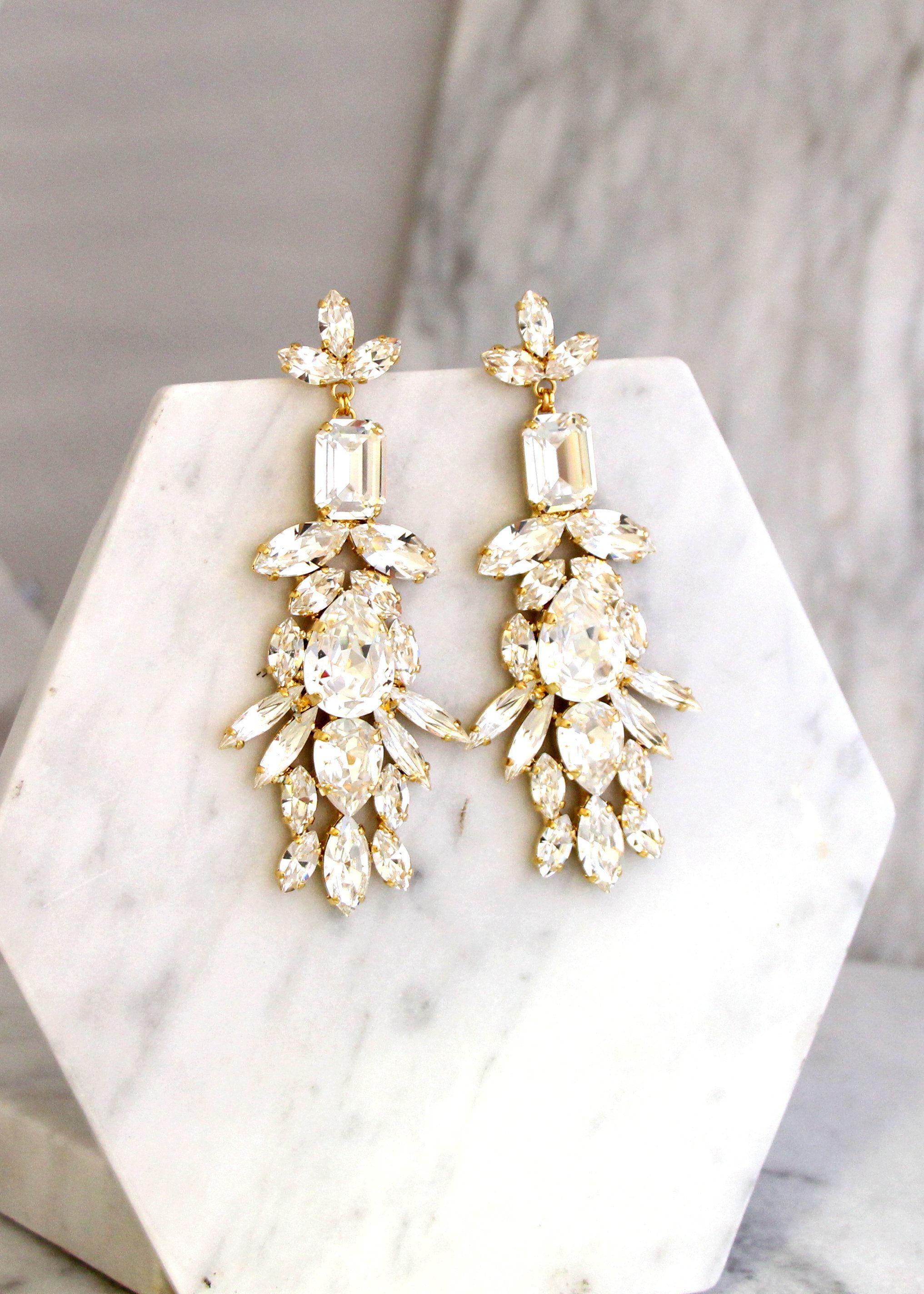Bridal Long Earrings Bridal Crystal Chandelier Earrings Bridal