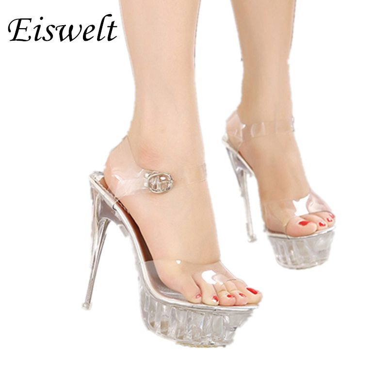 d7b7c9bbfca 2017 Women High Heel Sandals Sexy Crystal Transparent Women Shoes Fish head  High Platform 14cm Shoes Large Size 35-43 SJL380