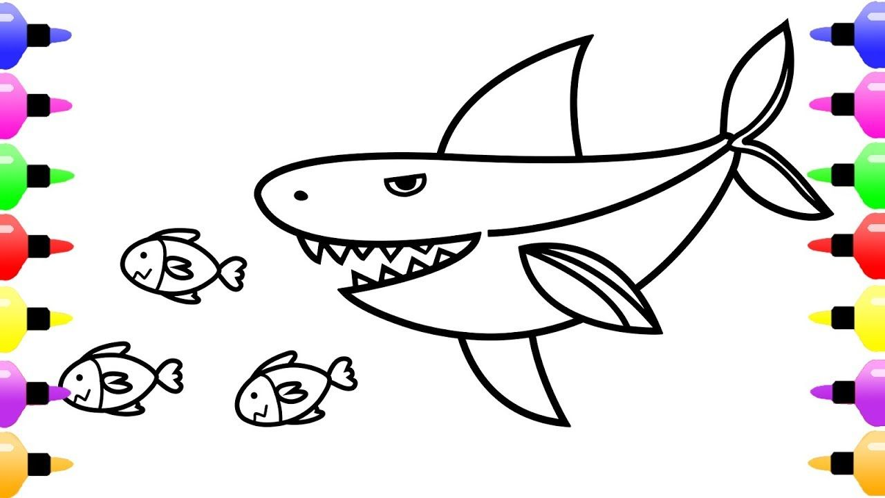White Shark Coloring Pages For Kids Shark Drawing And Coloring