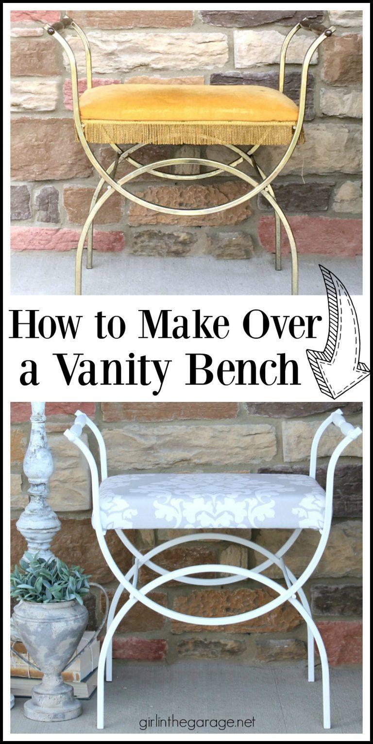 6 Vintage Vanity Bench Makeover Girl In The Garage Vintage Vanity Upcycled Furniture Diy Diy Vanity