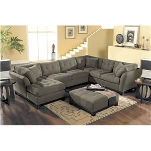Hm Richards Suede So Soft 3 Piece Sectional Displayed In Slate Great American Home Sofa Memphis Tn Southaven Ms