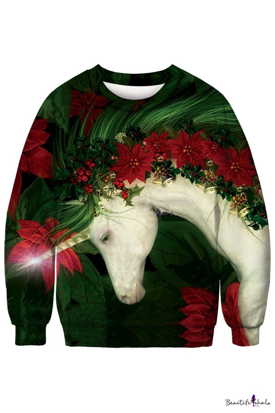 3D Print Sweatshirt O Neck Long Sleeve Pullover Fashionhe Women Christmas Blouse