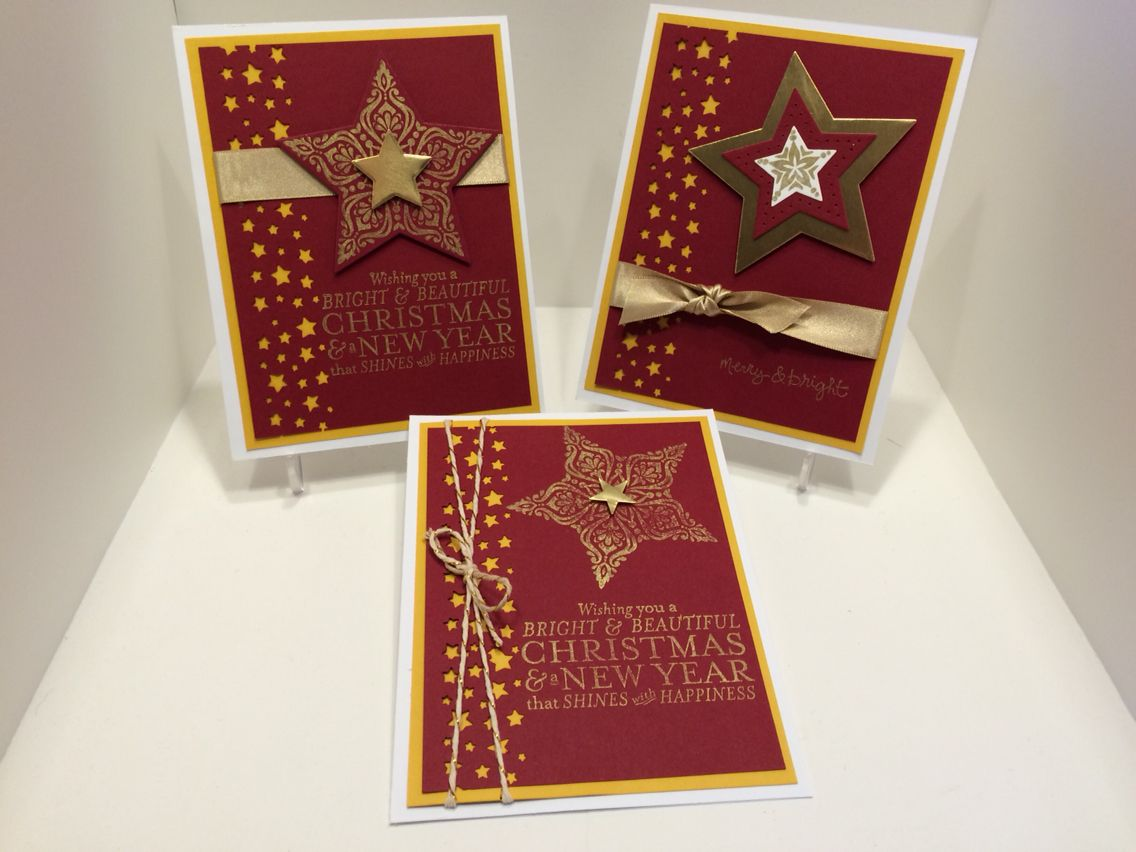 stampin' up merry  bright missyj 2014  christmas cards