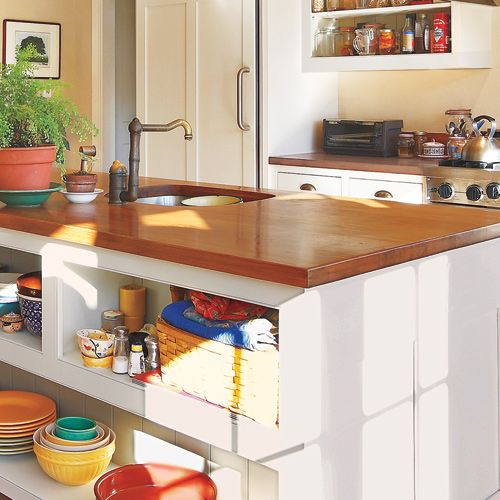 Kitchen Countertops That Look Like Wood: 10 Thrifty Ways To Customize Your Kitchen Warm And Inviting: Wood Countertop Soften The Look Of