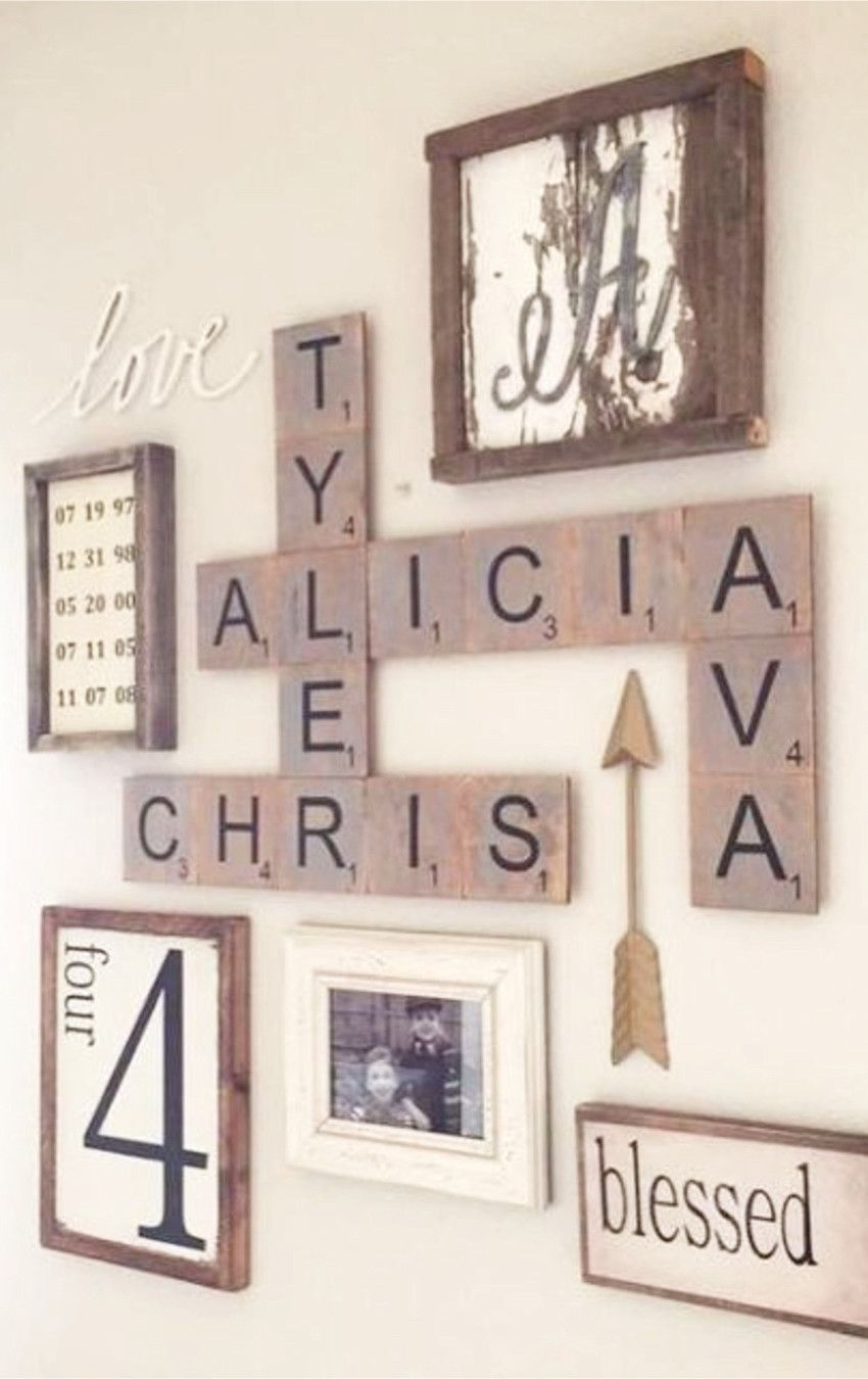 Gallery Wall Ideas I Love Great Use Of Large Scrabble Letters In This Rustic Farmhouse Gallery W Scrabble Tile Wall Art Scrabble Wall Art Scrabble Tiles Wall