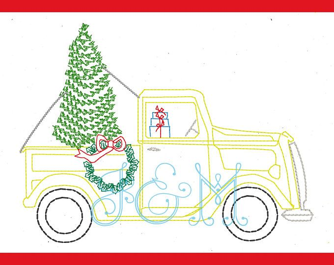 Christmas Truck With Presents And Tree Vintage Style Stitch Machine Embroidery Design 4x4 Machine Embroidery Designs Christmas Tree Truck Embroidery Designs