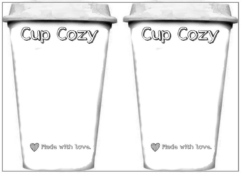 template printout for cups used for displaying cup cozies plus