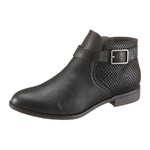 1 Aspect Femme Vue Tamaris Boots Reptile Noir Plates 7gYbyf6