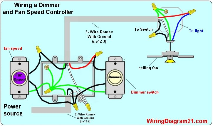 Ceiling Fan Dimmer Switch Spped Controller Wiring Diagram