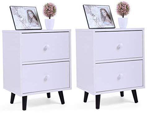 Best Amazon Com Lazymoon 2 Drawer Nightstand Bedside Cabinet 400 x 300