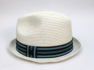 e7fc80e3cdf NWT Men s Original Penguin Paper Straw Fedora Trilby Hat White Blue ...