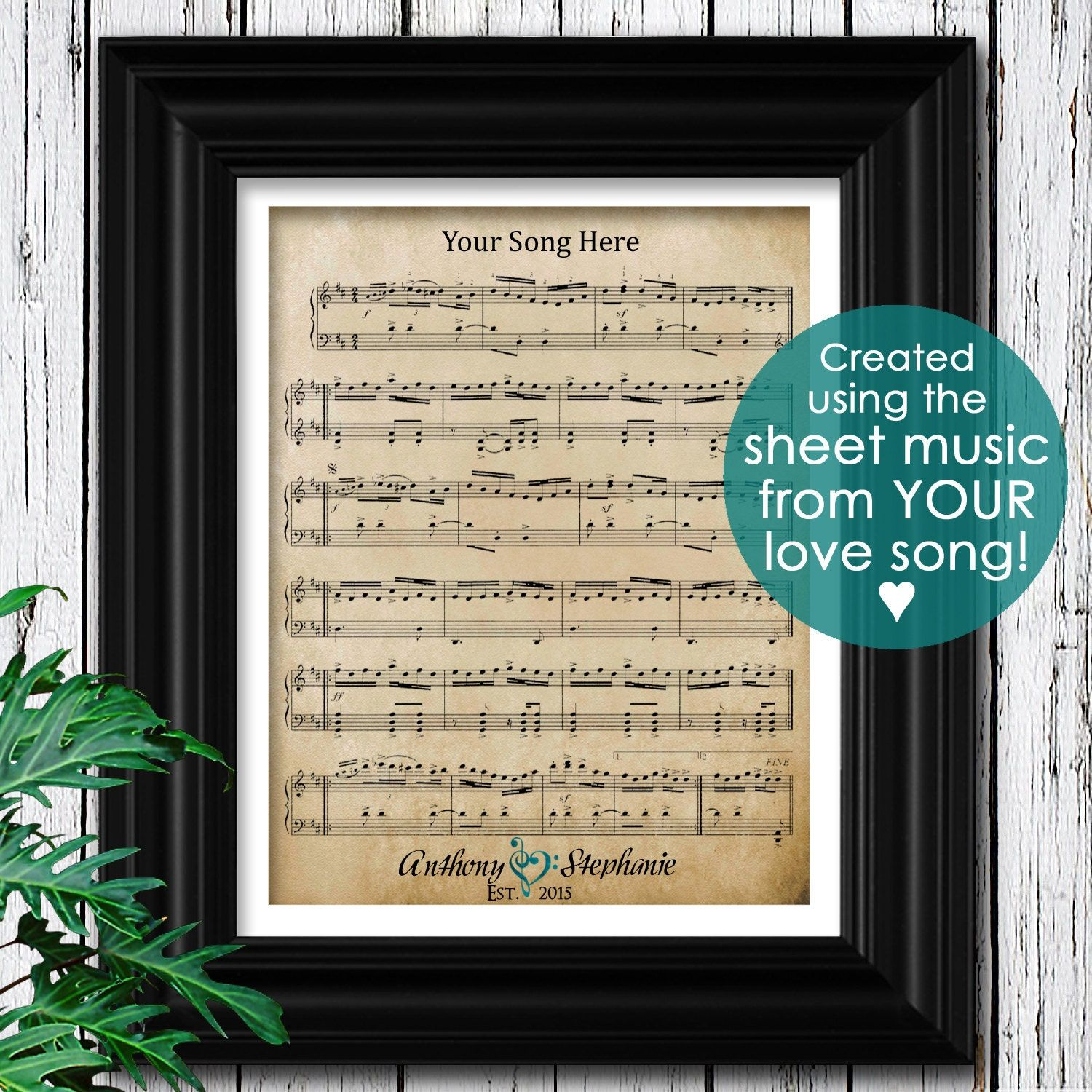 """""""Romantic Gift for Him Personalized Sheet Music with Song Lyrics to Your Wedding Song or Love Song. Chorus & Lyrics included. A Unique Gift Idea for Husband or Boyfriend, Handmade for a truly unique gift for him! SIZES AVAILABLE AT CHECKOUT - Digital Download (QUICK TURNAROUND! Artwork printed/framed locally fast! Please MESSAGE with date needed by) - 8x10\"""" Print Only - 8.5x11\"""" Print Only - 11x14\"""" Print Only - 12x18\"""" Print Only - Small Framed - 7x9\"""" Print with 8x10\"""" Frame - Medium Fram"""