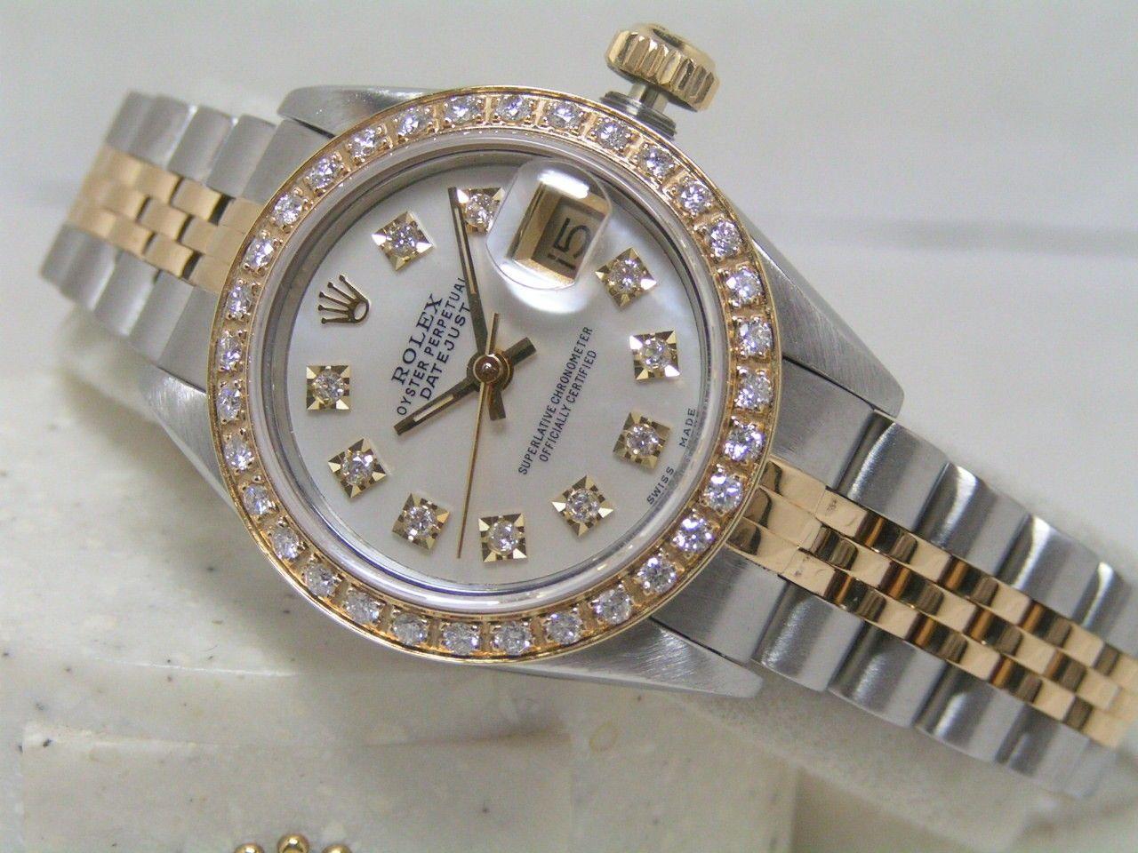 22455c0f512 Rolex 69173 Ladies DateJust White MOP Diamond Dial-Bezel SS/18kt Solid Gold  - $5,995