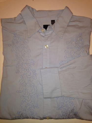 Nice Mens J Ferrar Blue Embroidered LS Shirt Size 2XLT | eBay