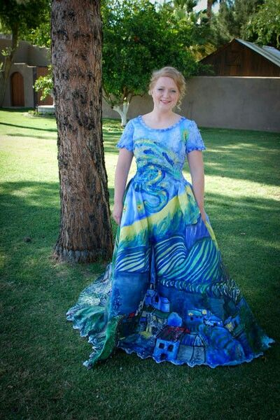 DIY prom dress Vincent van Gogh Starry night | Matric dress ideas ...