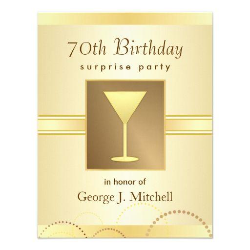 70th Birthday Surprise Party Invitations Gold 70th Birthday