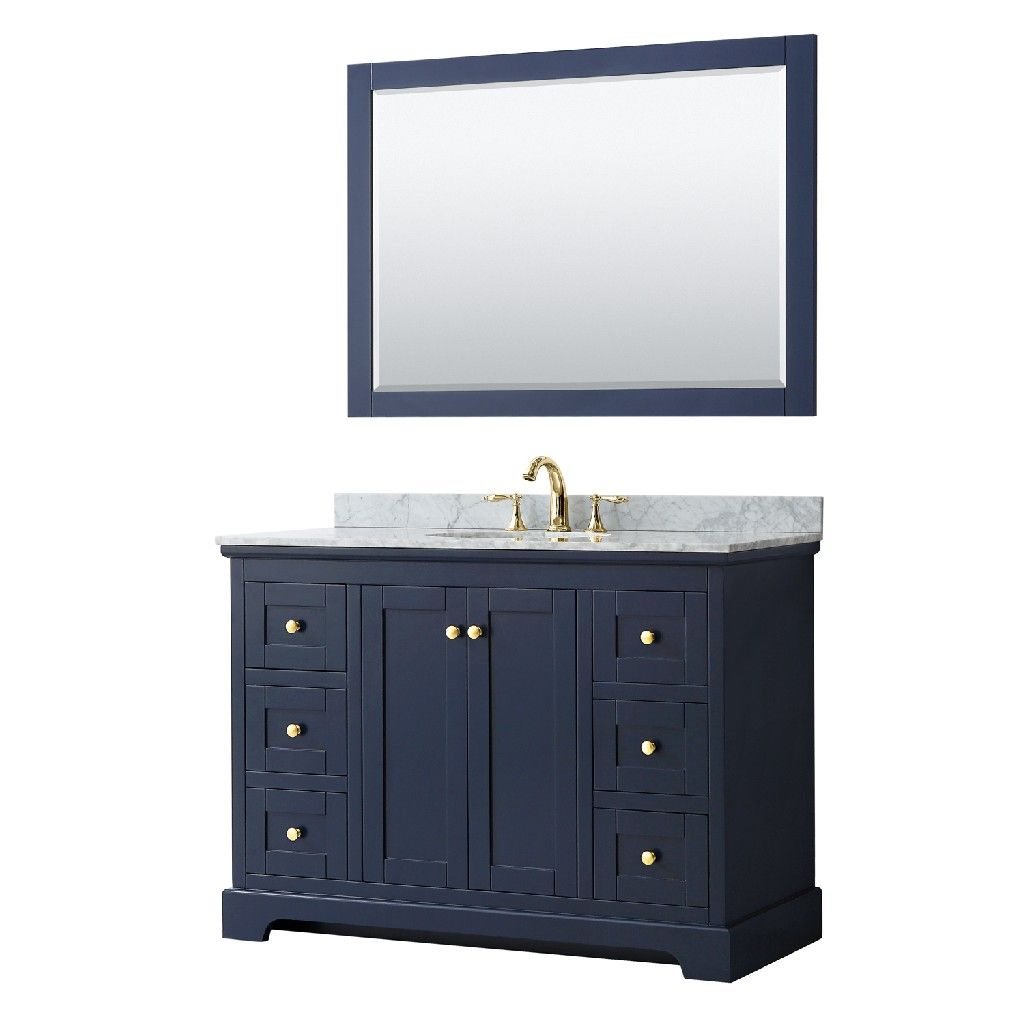 48 Inch Single Bathroom Vanity In Dark Blue White Carrara Marble