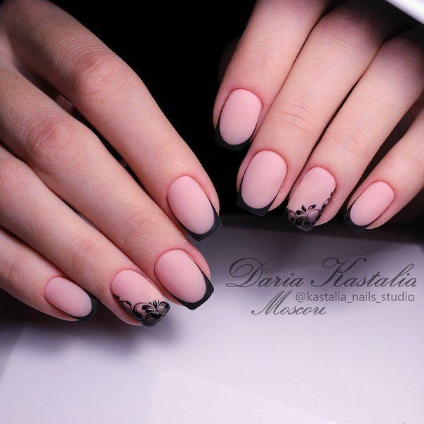 Natural French with black | manicure | Pinterest | Diseños de uñas ...