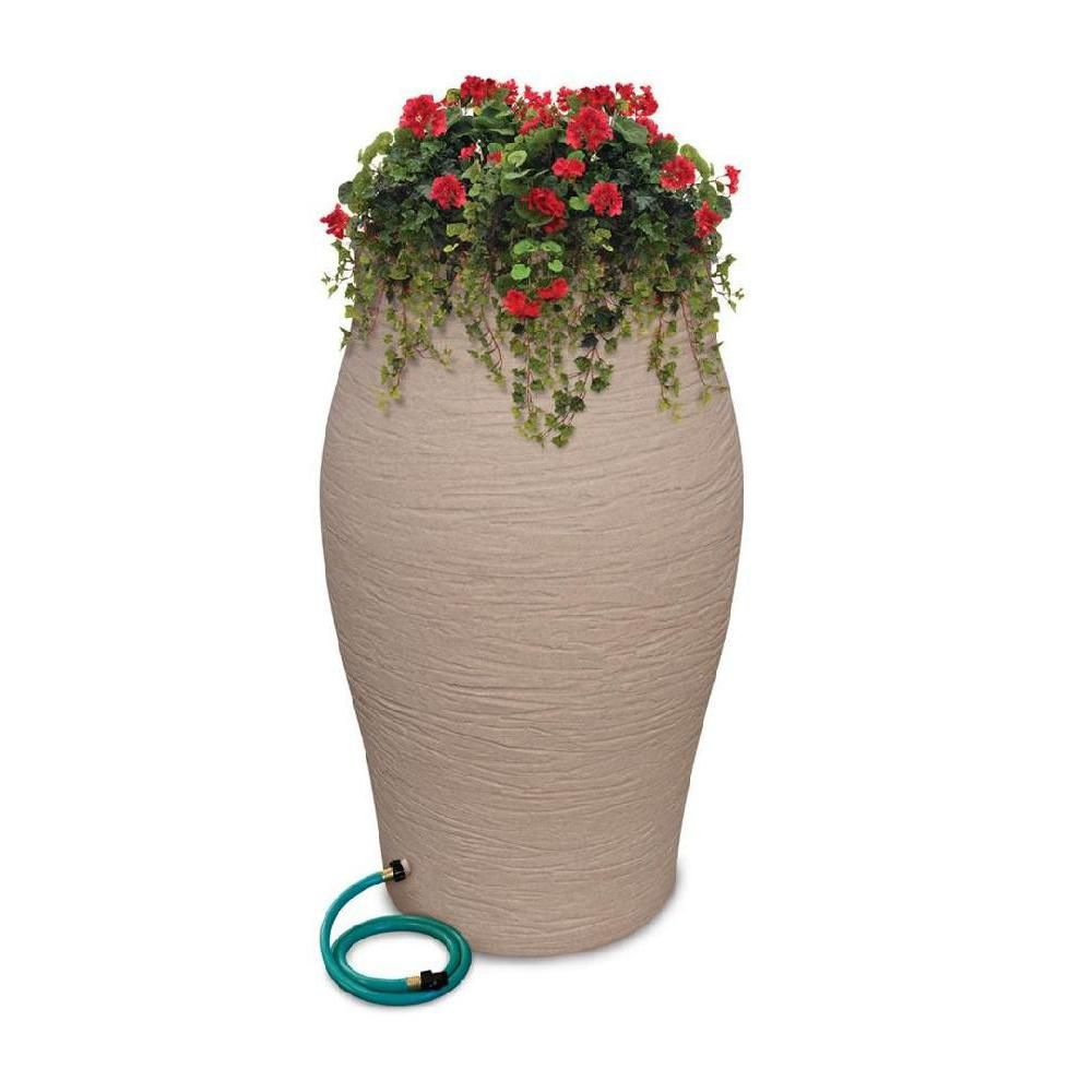 Decorative Urn New 60 Galsandstone Brown Decorative Rain Barrel Kit With Planter Design Decoration