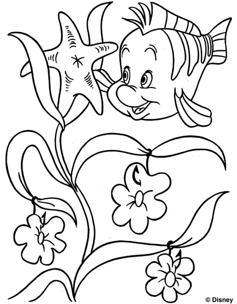 Free Coloring Pages Download Flounder Colouring Page The Little Mermaid Princess Of