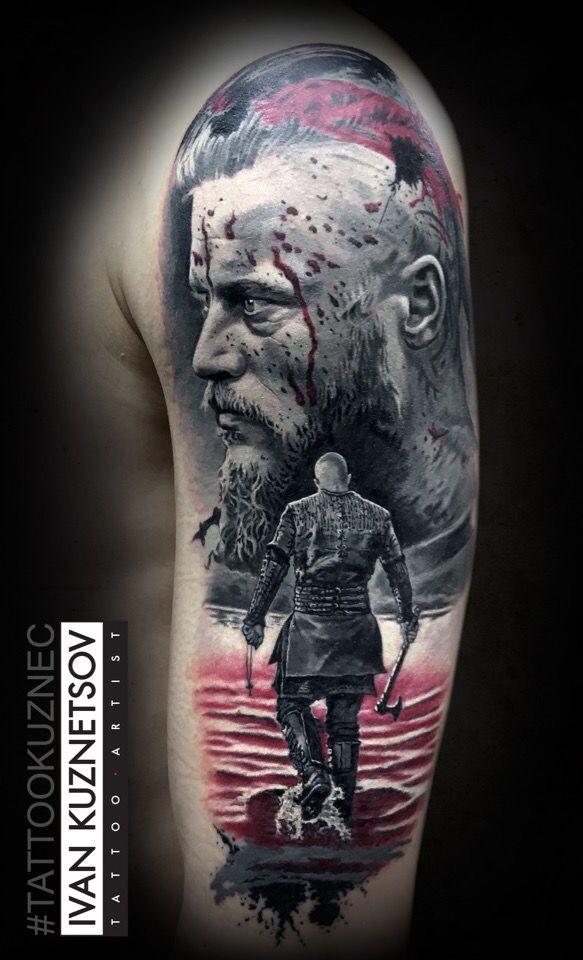 Viking tattoo on shoulder realistic by Ivan Kuznecov