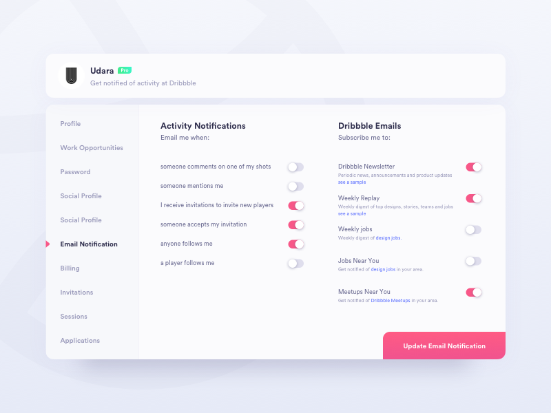 Daily UI Challenge #007 - Settings by Udara
