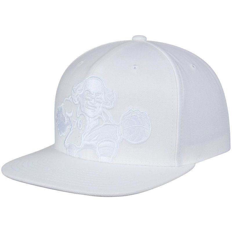 new product 459d7 b493c Philadelphia 76ers Mitchell   Ness Cropped XL Logo Snapback Adjustable Hat  - White