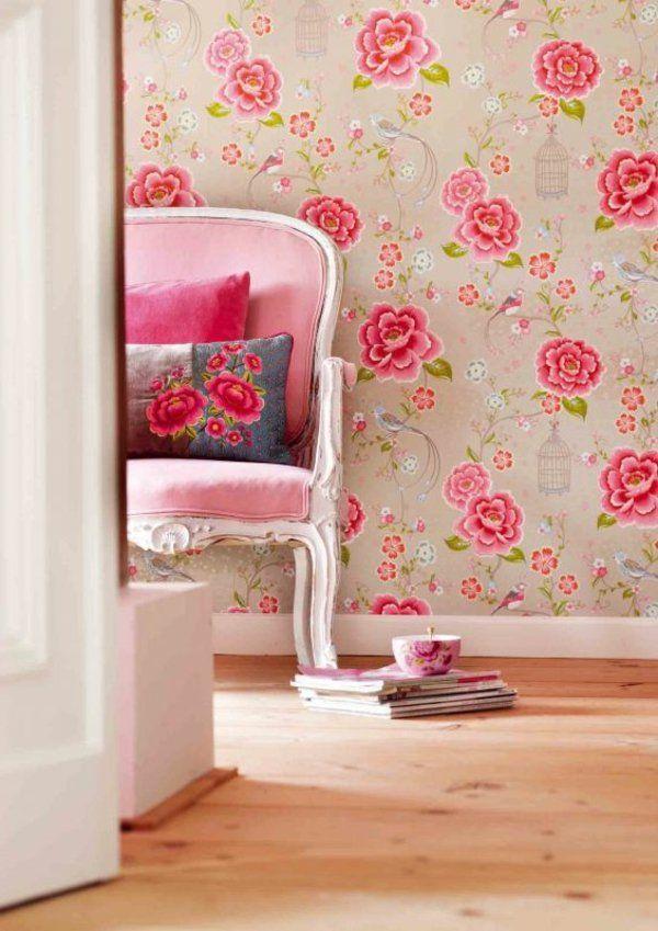 wände gestalten tapete blumenmotive rosen Wandgestaltung - wandgestaltung mit tapeten