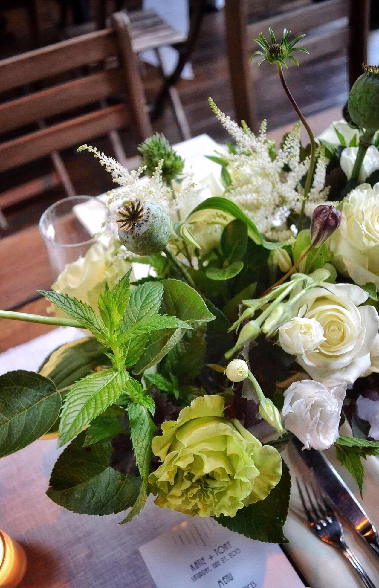 White And Green Wild Garden Flower Centerpieces With Dark Burgundy