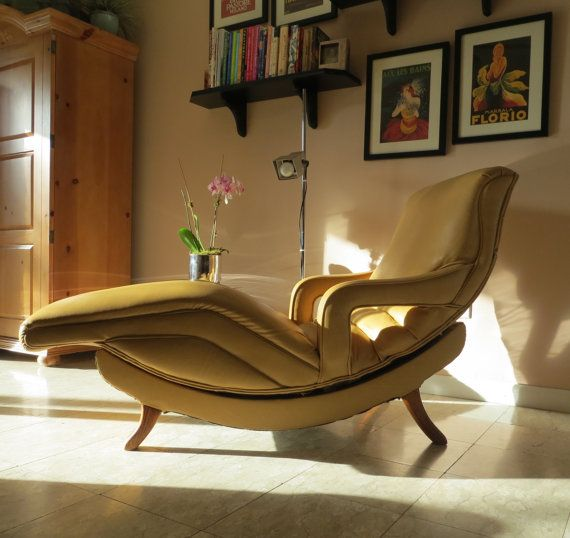 Mid Century Modern Contour Lounge Chair   Reclining Massage Chair    Recliner   Gold Dijon Mustard Color This Stunning Mid Century Modern