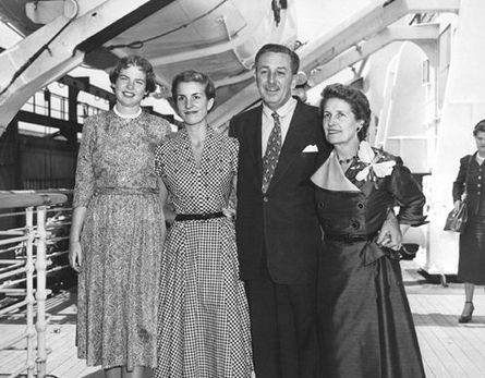 Walt Disney, with wife and daughters aboard the Queen Mary, early 1950s   Lillian disney, Walt disney, Walter elias disney