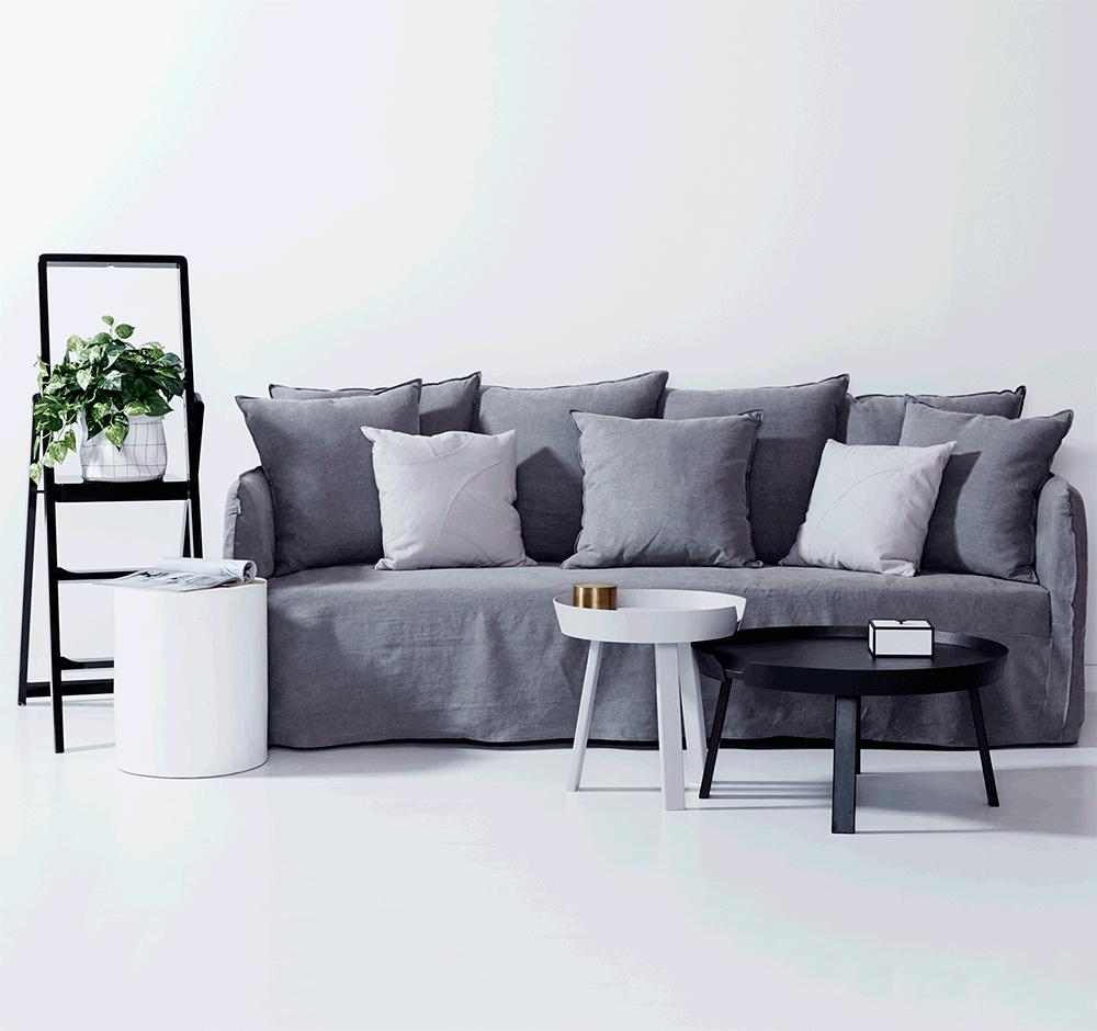 Modern Designer Bronte Ash Grey Italian Linen Sofa Removable Slip Cover