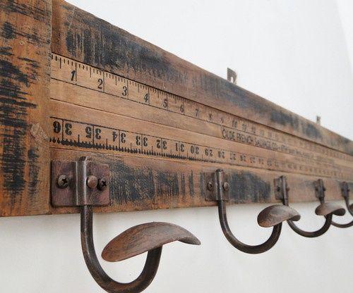 Wooden Yardstick Wall Coat Rack