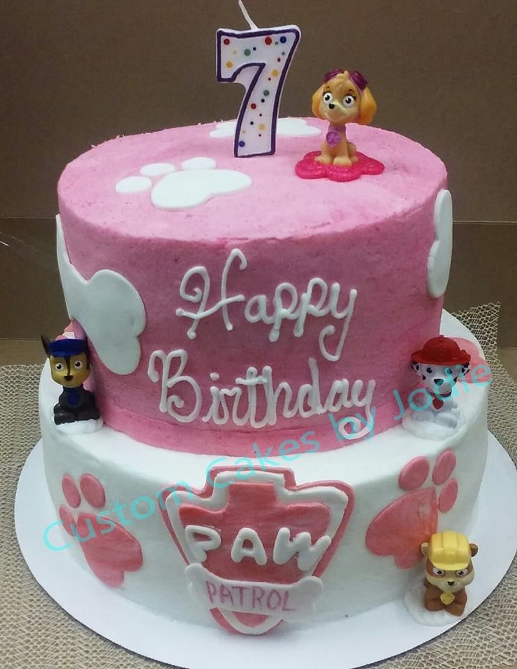 2 Tiered Paw Patrol Cake For A Girl Custom Cakes By Jodie