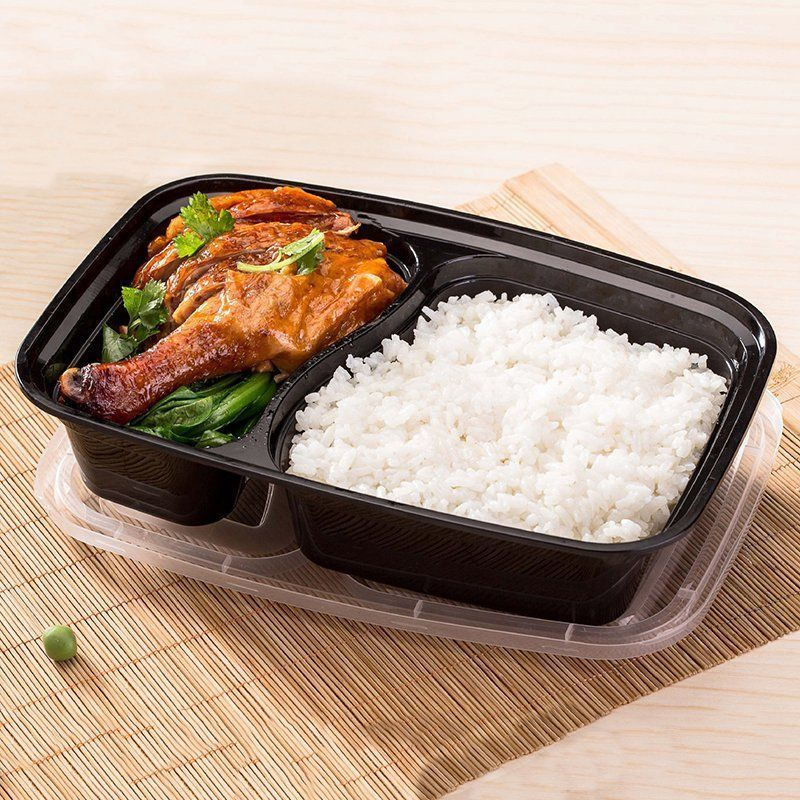 10pcs Set Disposable Plastic Lunch Box Microwave Takeaway Packing