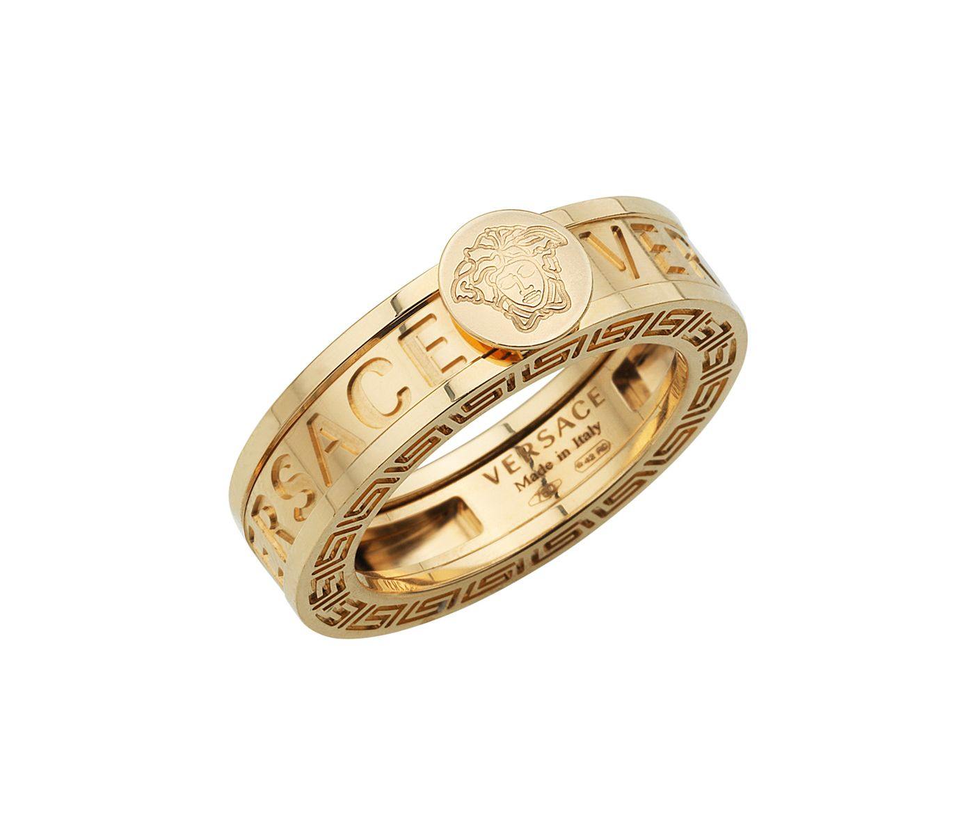 Versace Jewelry for Men Versace Yellow Gold Medusa Head Ring