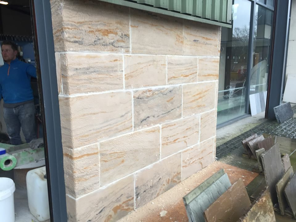 Sandstone Veneer This Wall Was Clad And Finished In Under