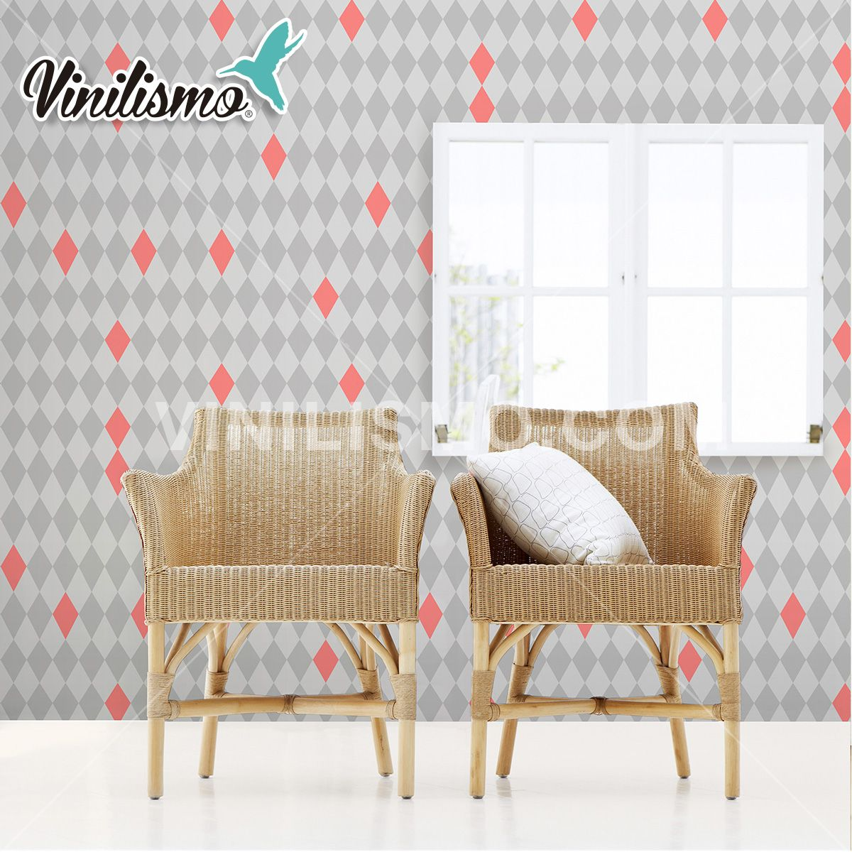Papel tapiz rombos papel tapiz papel tapiz retro for Patron de papel tapiz para sala comedor