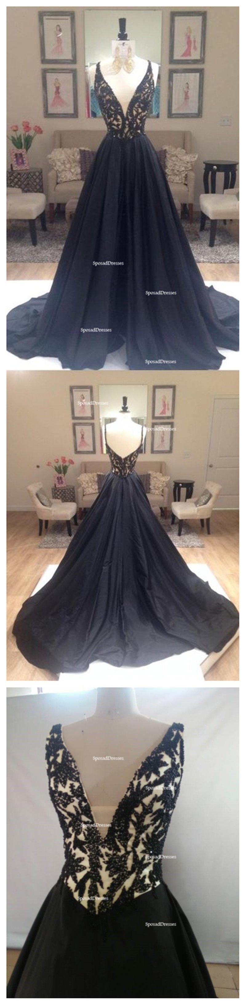 Black aline elegant deep vneck prom dresses black long evening