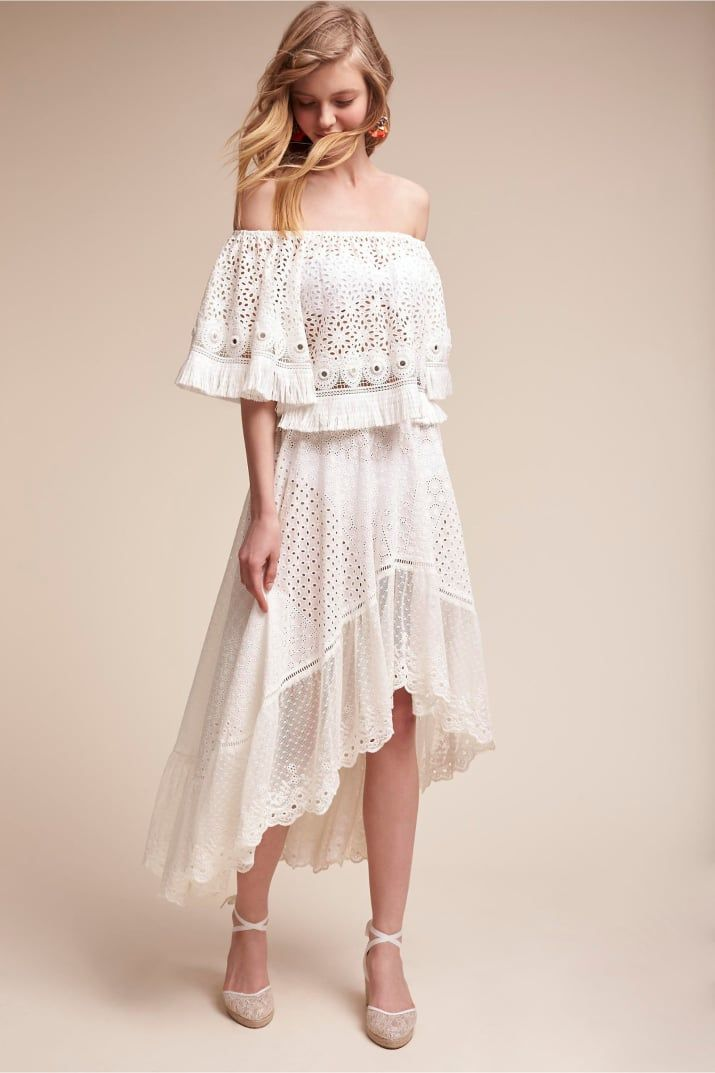 Get the top for $190 and the skirt for $280, both from BHLDN. Available in one size.