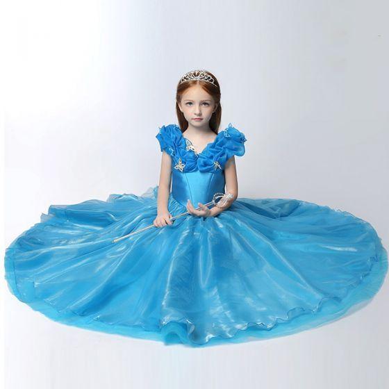 e02747cfa6 Piękne Kościół Sukienki Na Wesele 2017 Sukienki Dla Dziewczynek Niebieskie Suknia  Balowa Długie V-Szyja Kótkie Rękawy Bez Pleców Kwiat Aplikacje