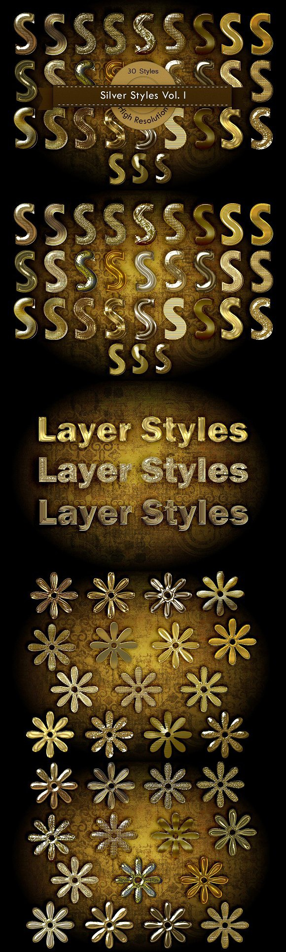 Gold Photoshop Layer Styles. Layer Styles