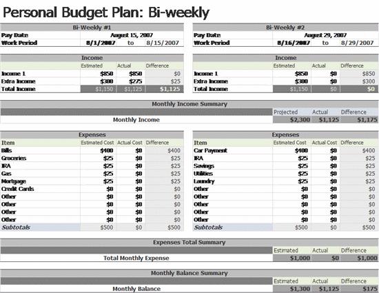 weekly budget worksheets